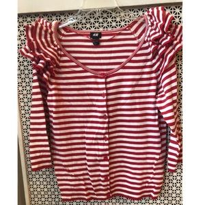 H&M Red and White Stripe Cardigan with Ruffle